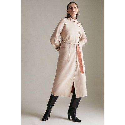Karen Millen Funnel Neck Splitable Wool Coat -, Brown