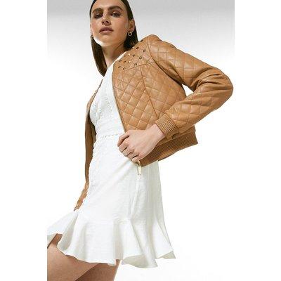 Karen Millen Leather Studded Yoke Quilted Bomber Jacket -, Tan