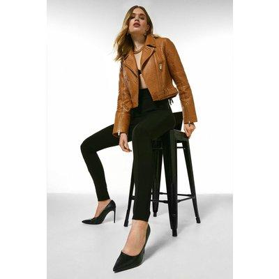 Karen Millen Leather All Over Multi Stitch Belted Jacket -, Cashew