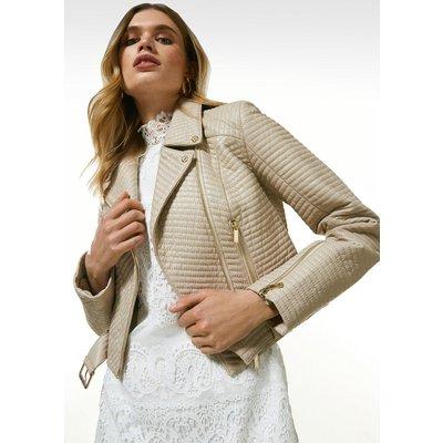 Karen Millen Leather All Over Multi Stitch Belted Jacket -, Nude