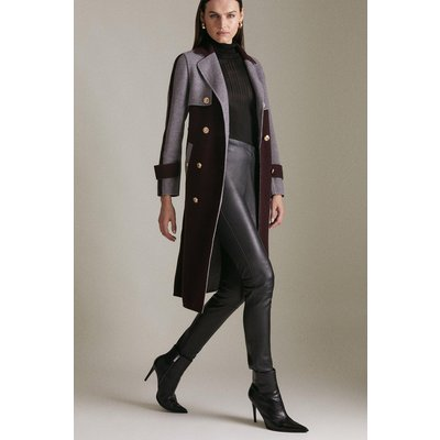 Karen Millen Colourblock Splitable Wool Coat -, Red