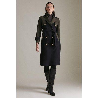 Karen Millen Colourblock Splitable Wool Coat -, Mid Navy