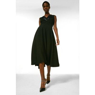 Karen Millen Compact Viscose Stretch Tux Prom Dress -, Black