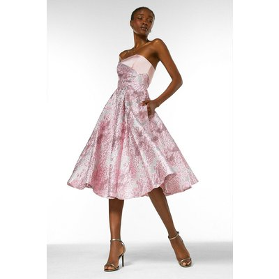 Karen Millen Floral Jacquard Prom Bandeau Midi Dress -, Navy