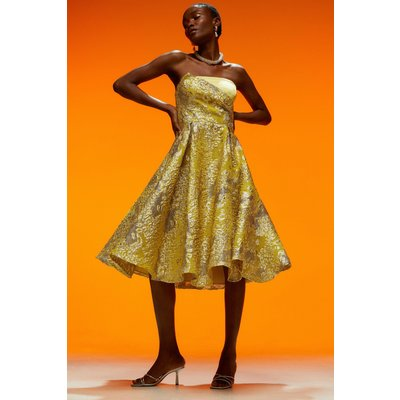 Karen Millen Floral Jacquard Prom Bandeau Midi Dress -, Yellow