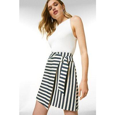 Karen Millen Textured Stripe A Line Skirt -, Blackwhite