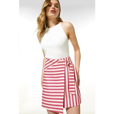 Karen Millen Textured Stripe A Line Skirt -, Navy