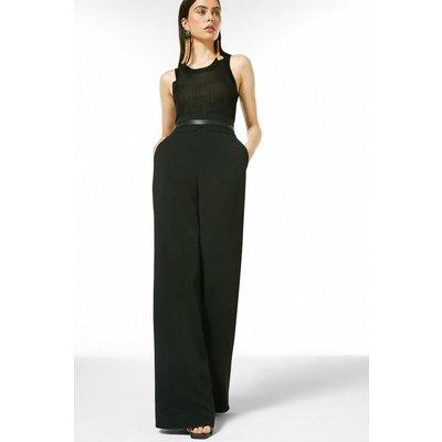 Karen Millen Luxe Viscose Tailored High Waist Wide Trouser -, Black