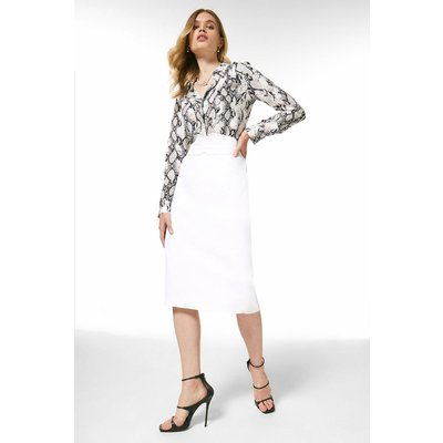 Karen Millen Luxe Viscose High Waist Pencil Skirt -, Ivory