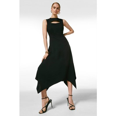 Karen Millen Luxe Viscose Tailored Midi Dress -, Black