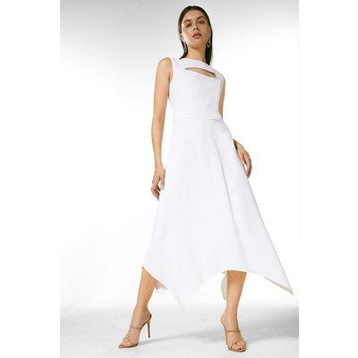 Karen Millen Luxe Viscose Tailored Midi Dress -, Ivory