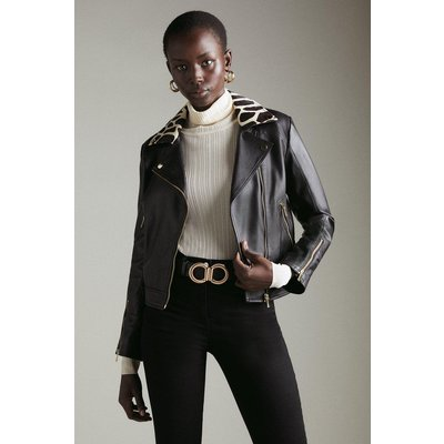 Karen Millen Leather Cavallino Animal Collar Biker Jacket -, Black