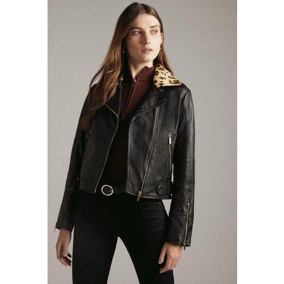Karen Millen Leather Cavallino Animal Collar Biker Jacket, Multi