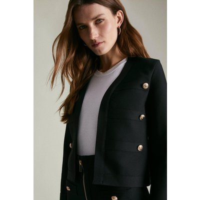 Karen Millen Military Trim Jacket Made With Recycled Yarn -, Black
