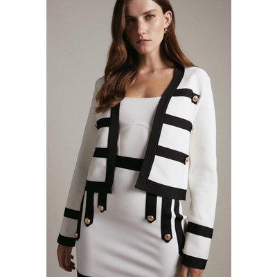 Karen Millen Military Trim Jacket Made With Recycled Yarn -, Blackwhite