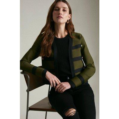 Karen Millen Military Trim Jacket Made With Recycled Yarn -, Khaki/Green