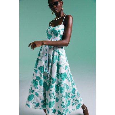 Karen Millen Ivy Leaf Print Woven Belted Midi Dress -, Green