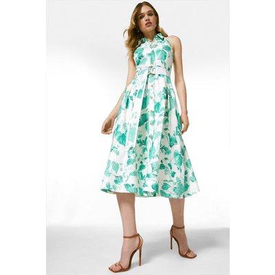 Karen Millen Ivy Leaf Print Sleeveless Midi Shirt Dress -, Green