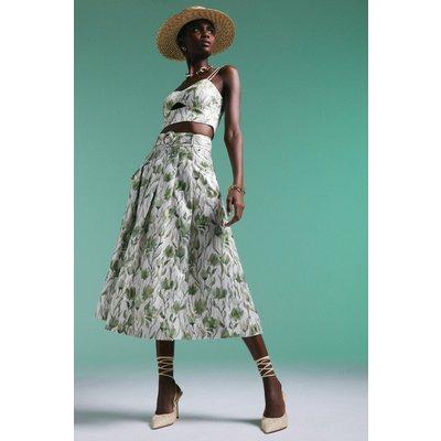 Karen Millen Pine Flower Metallic Woven Maxi Skirt -, Green