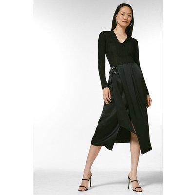 Karen Millen Viscose Satin Crepe Wrap Midi Skirt -, Black