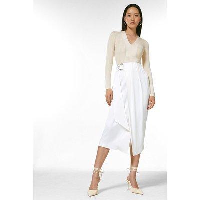 Karen Millen Viscose Satin Crepe Wrap Midi Skirt -, Ivory