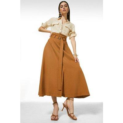 Karen Millen Soft Tencel Woven Midi Skirt -, Orange