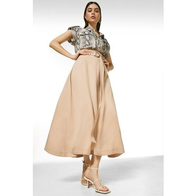 Karen Millen Soft Tencel Woven Midi Skirt -, Brown