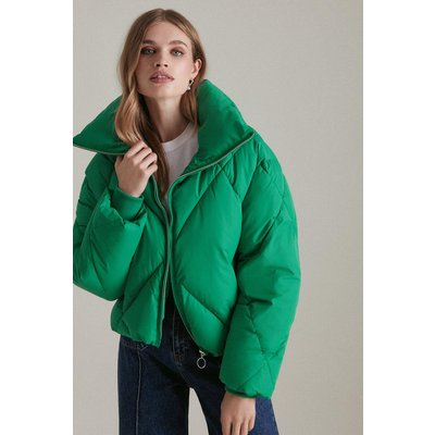 Karen Millen Funnel Neck Diamond Quilt Puffer Coat -, Bright Green