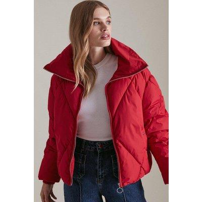 Karen Millen Funnel Neck Diamond Quilt Puffer Coat -, Red
