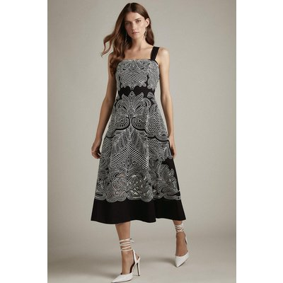 Karen Millen Cutwork Embroidered Woven Prom Dress -, Black