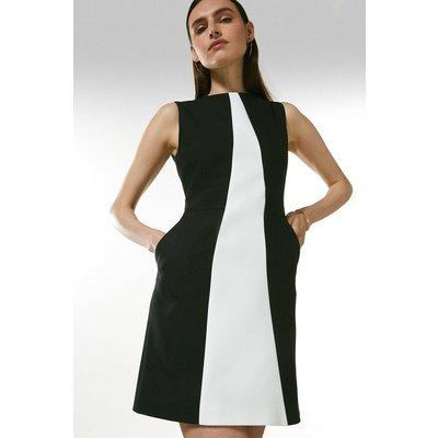 Karen Millen Compact Tailored Contrast Pop On Dress -, Blackwhite