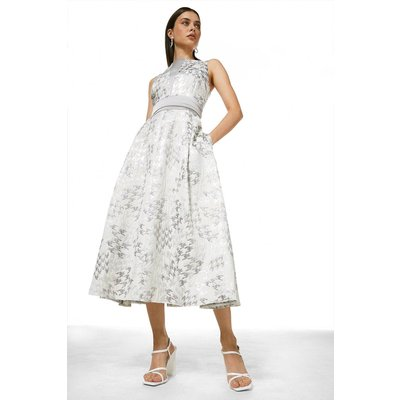 Karen Millen Houndstooth Jacquard Full Midi Dress -, Grey