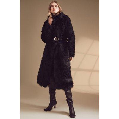 Karen Millen Patched Faux Fur Long Coat -, Black