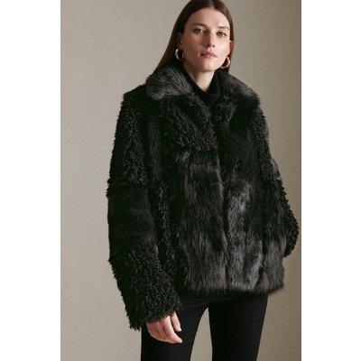 Karen Millen Patched Faux Fur Short Coat -, Black