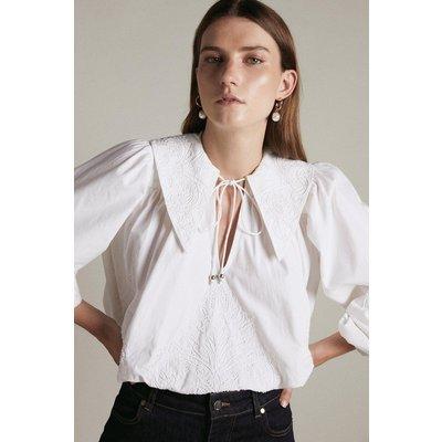 Karen Millen Embroidered Balloon Sleeve Tie Neck Woven Blouse -, White