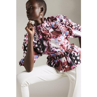 Karen Millen Butterfly Print Cotton Poplin Ruffle Woven Blouse, Multi