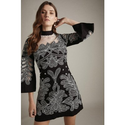 Karen Millen Cutwork Drama Sleeve Woven Dress -, Black