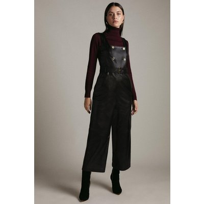 Karen Millen Leather Square Neck Db Cropped Jumpsuit -, Black