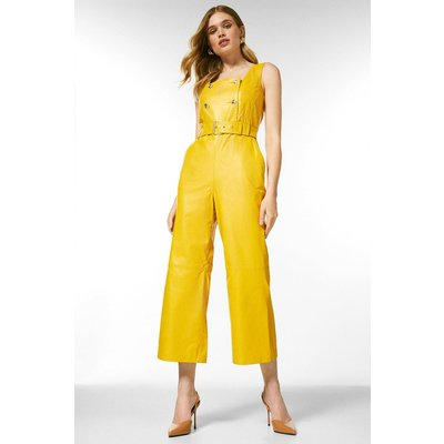 Karen Millen Leather Square Neck Db Cropped Jumpsuit -, Yellow