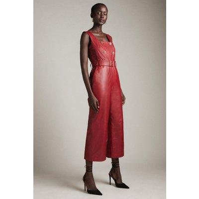 Karen Millen Leather Square Neck Db Cropped Jumpsuit -, Red
