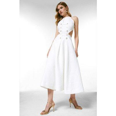 Karen Millen Textured Eyelet Detail Woven Halter Midi Dress -, White
