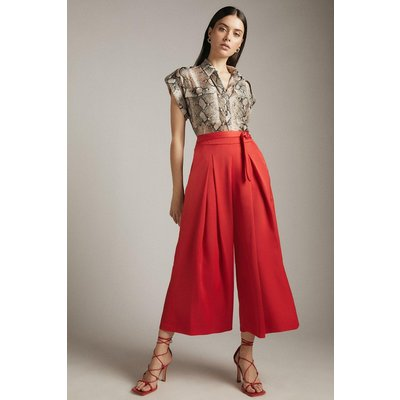 Karen Millen Satin Crop Wide Belted Detail Trousers -, Red