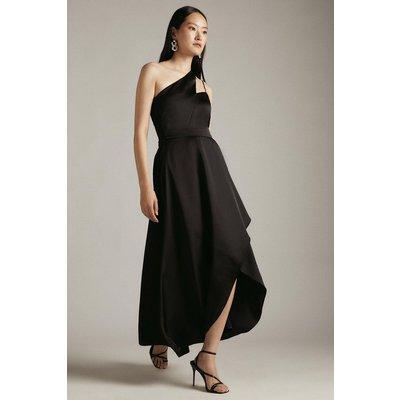 Karen Millen Satin One Shoulder Fluid Midi Dress -, Black