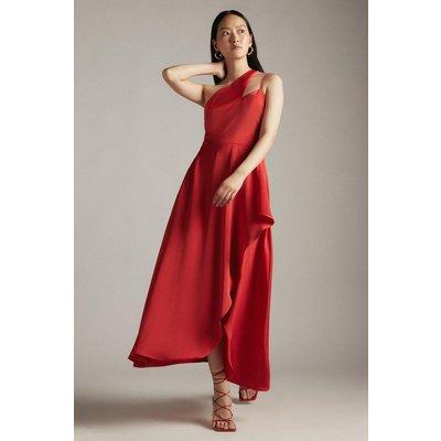 Karen Millen Satin One Shoulder Fluid Midi Dress -, Red