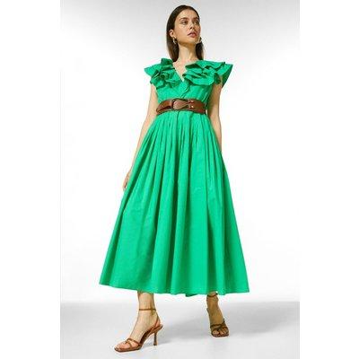 Karen Millen Organic Cotton Poplin Belted Midi Dress -, Green