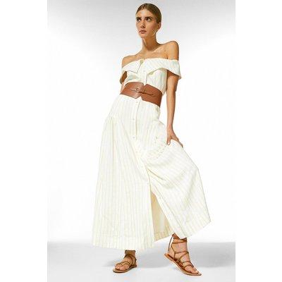 Karen Millen Fluid Stripe Belted Bardot Midi Dress -, Yellow