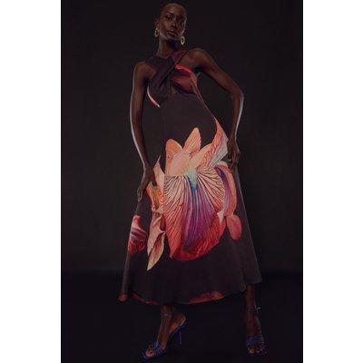 Karen Millen Soon Halter Drama Tie Maxi Woven Dress -, Floral