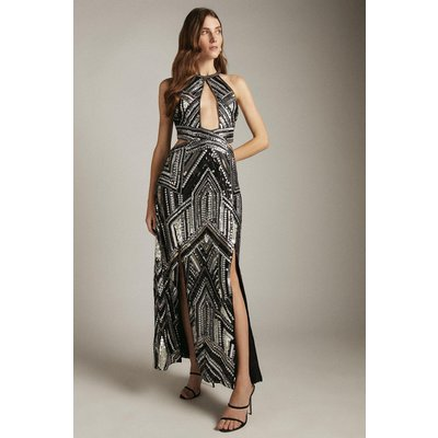 Karen Millen Premium Beaded and Embellished Maxi Split Dress -, Black