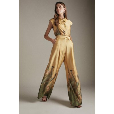 Karen Millen Heron Print Drawstring Wide Leg Woven Trousers -, Neutral