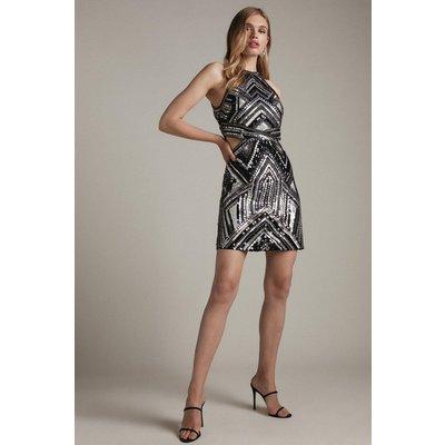Karen Millen Premium Bead And Embellished Halter Dress -, Black